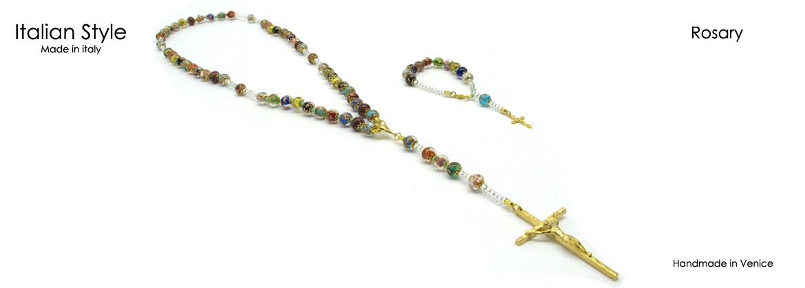 Rosary with Murano Glass Beads, Mod. CO093A (50 cm) made with 59 beads, 9 mm in diameter