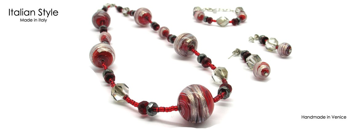 Murano Glass Set Mod. Annalisa (65 cm) made with assorted beads
