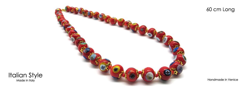 Collana in Vetro di Murano Mod. Mosaico (60 cm) con Perle diam.8 mm, disponibile in 5 Colori,