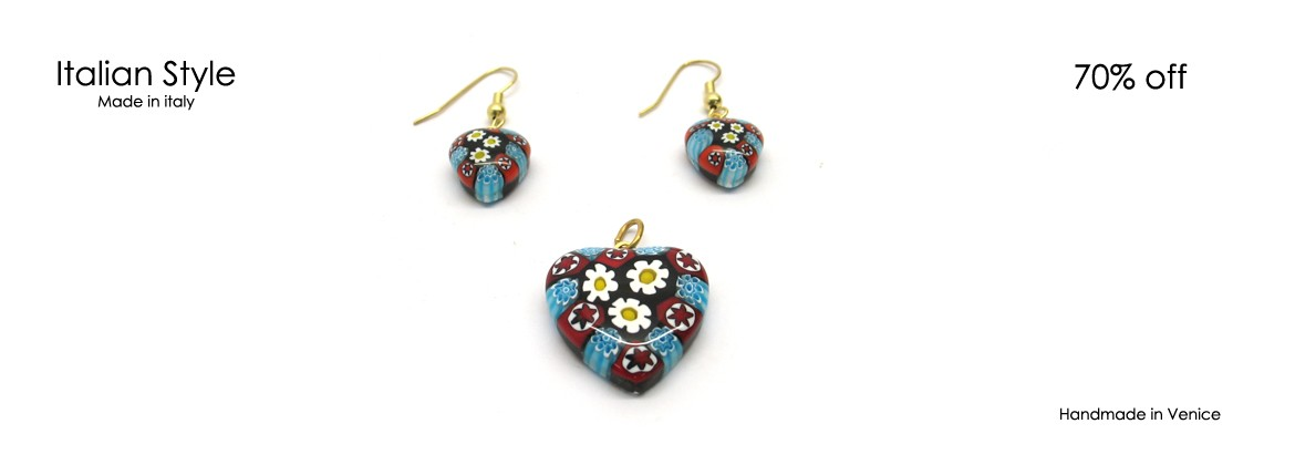 Murano Glass Set Mod. Heart, with a Heart Pendant (22 mm) and Murano Glass Earrings(12 mm) available in 6 colours