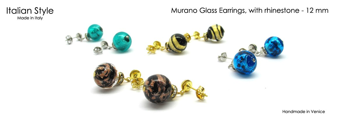 Murano glass earrings, with rhinestone, Mod. Chiara, made with beads 12 mm in diameter, with insertions foil, in Silver 925 and Gold 24 k,