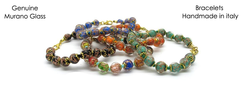 Bracciale in Vetro di Murano Mod. Sommerso (21 cm) con Perle Sommerse diam.20 mm, disponibile in 10 Colori, con inserti in foglia Argento 925 e Oro 24 Kt,
