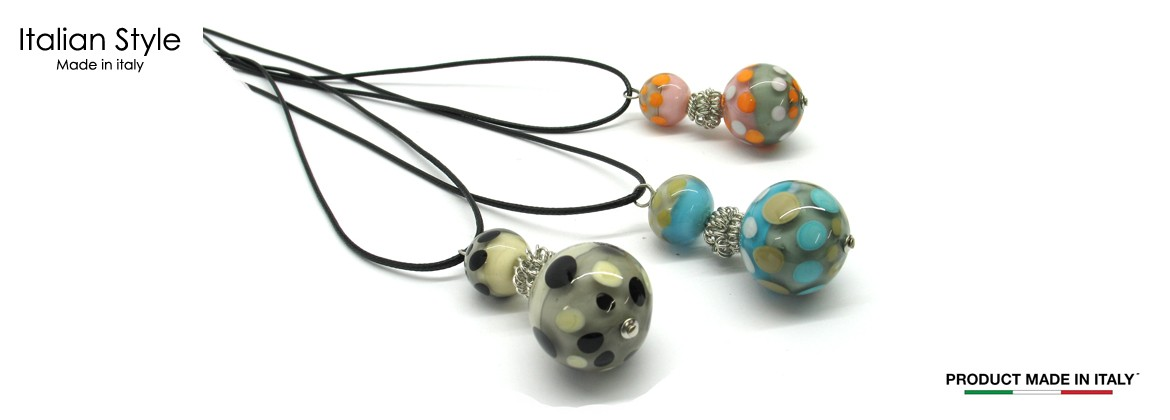 Murano Glass Necklace, Mod. Africa (Coton cord 50 cm) made Two beads 24 mm and 16 mm in diameter, available in 3 colours