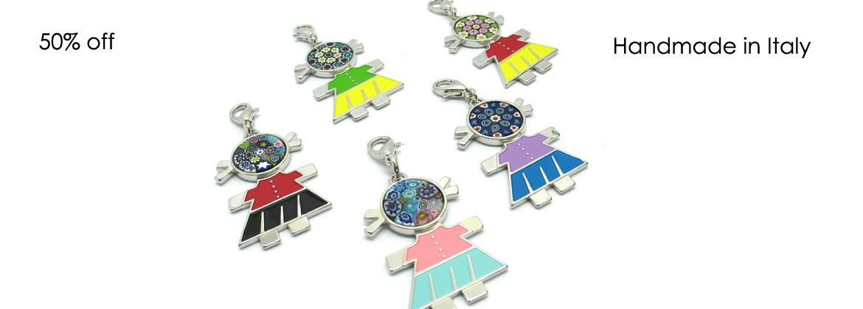 Murano Glass, Charm, for bag, necklace, bracelet .... Mod. Charm Bambolina