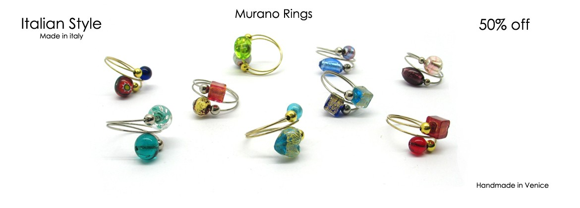 Murano round Ring, 15 mm in diameter, Mod. Fantasia, available in assorted beads, in 10 different colours,