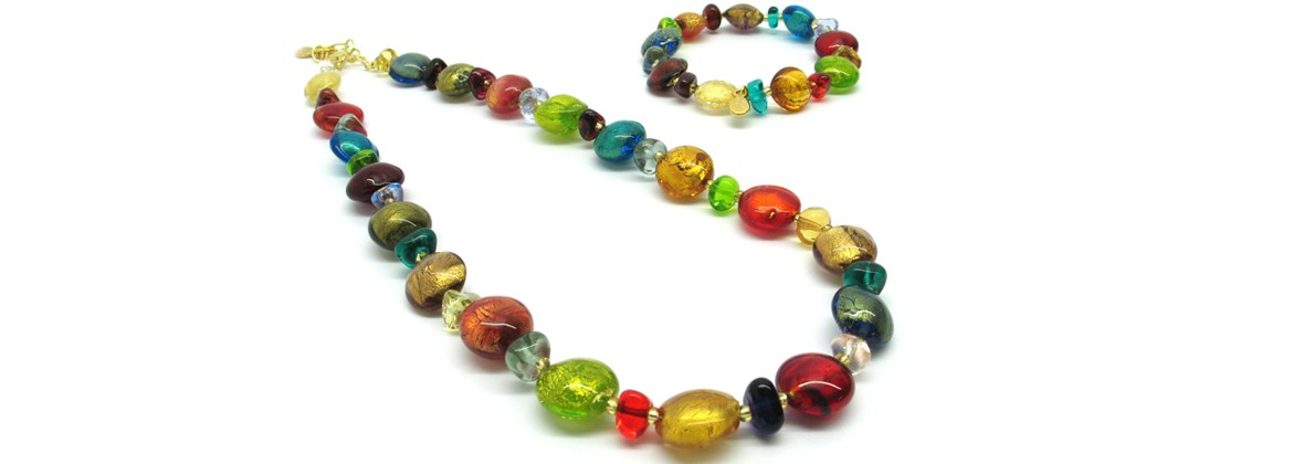 Murano Glass Set Mod. Clara (45 cm) made with assorted beads (14 mm) and elasticBracelet (21 cm