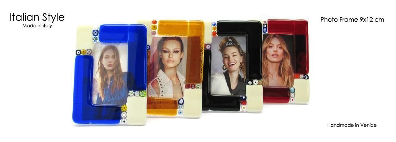 Murano Glass Millefiori Photo Frame Multicolor 9x12 cm (PF9x12) available in 4 different colours
