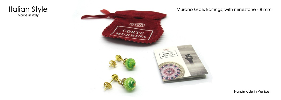 Window Display, with 32 Pair Murano glass earrings, with rhinestone, Mod. Chiara, made with beads 8 mm in diameter,