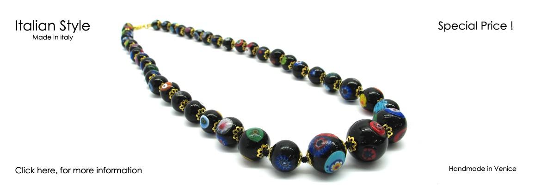 Collana in Vetro di Murano Mod. Mosaico (55 cm) con Perle in gradazione, disponibile in colore Nero, con inserti in foglia Argento 925 e Oro 24 Kt,