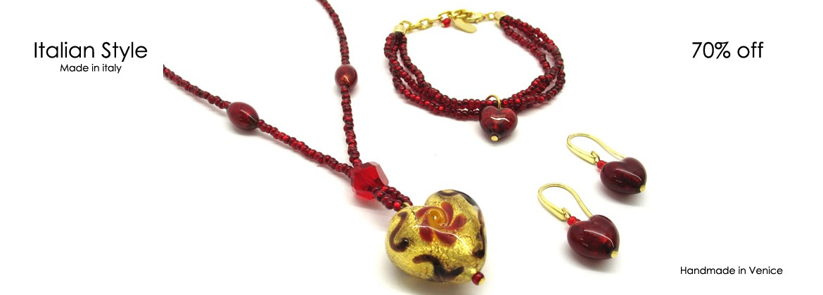 Murano Glass Set Mod. Giulia with Heart (26x16), made with a seed beads (conteria) necklace (45 cm), and Murano Glass Bracelet (20 cm)