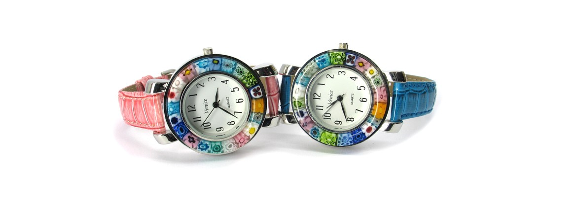 Murano Glass Space Watches Chrome case