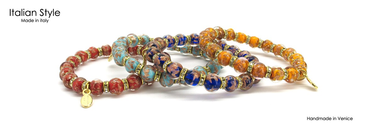 Murano Glass Bracelet, Mod. Fortuna, (21 cm) made with Strass in Gold and Chrome, beads 8 mm in diameter, available in 10 colours,