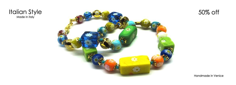 Bracciale in Perle di Murano Mod. Cubo Mosaico (21 cm) con Perle diam.8 mm, disponibile in colore Multicolor, prodotto a mano dai Maestri Vetrai Muranesi