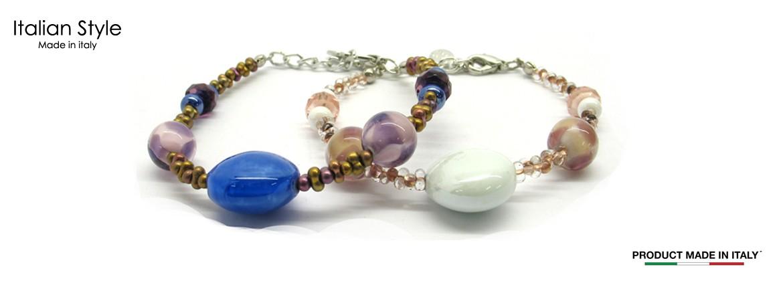 Bracciale in Vetro di Murano Mod. Valeria (21 cm) con Perle diam.12 mm, disponibile in 4 Colori, con inserti in foglia Argento 925 e Oro 24 Kt,