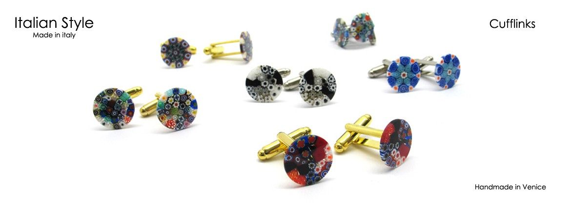 Cufflinks, made with Murrina, 14 mm in Diameter, made entirely handmade by our Murano master glass-makers with Murrina's Glass