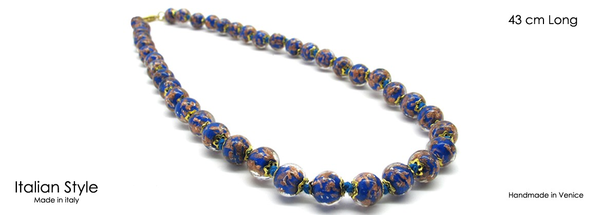 Murano Glass Necklace, Mod. Sommerso (60 cm) made with beads 8 mm in diameter, available in 5 colours, with insertions foil, in Silver 925 and Gold 24 kt,