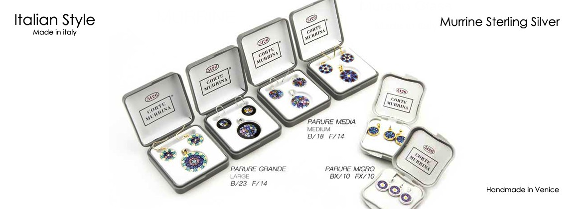 Murrina Millefiori Set-Parure, Mod. Parure Micro, rim and hook in Sterling Silver 925/000 available in 15 assorted colours