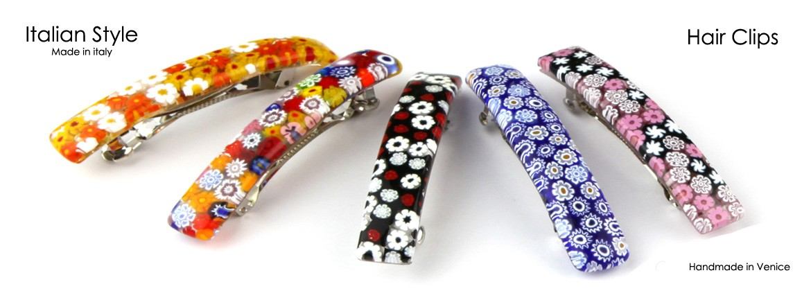 Murano Glass Hair Clips, rectangular big shape, 90x15 mm (FC001A) available in 10 different colours,