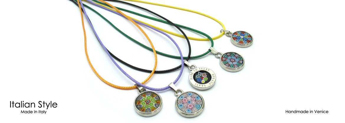 Murano Glass Necklace, Mod. Paolina (45 cm) made with Murrina 18 mm in diameter, cotton cord in 10 assorted colors, made entirely handmade by Murano master glass-makers