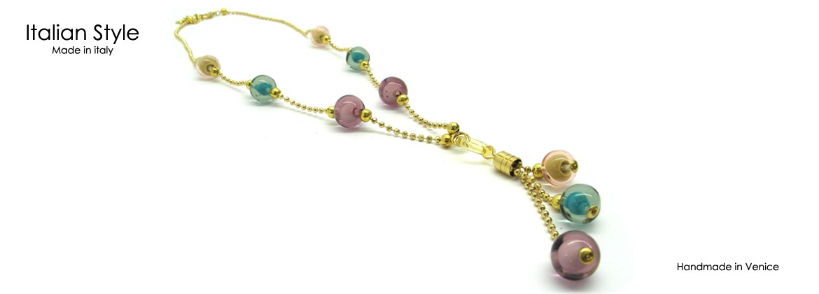 Murano Glass Necklace, Mod. Beatrice (50 cm) made with beads 12 mm in diameter