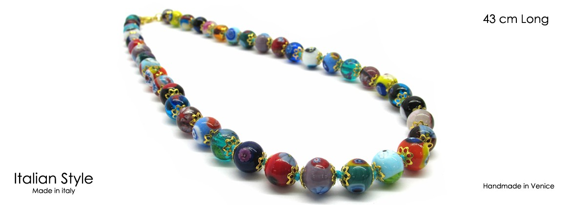 Murano Glass Necklace, Mod. Mosaico (43 cm) made with beads 8 mm in diameter,