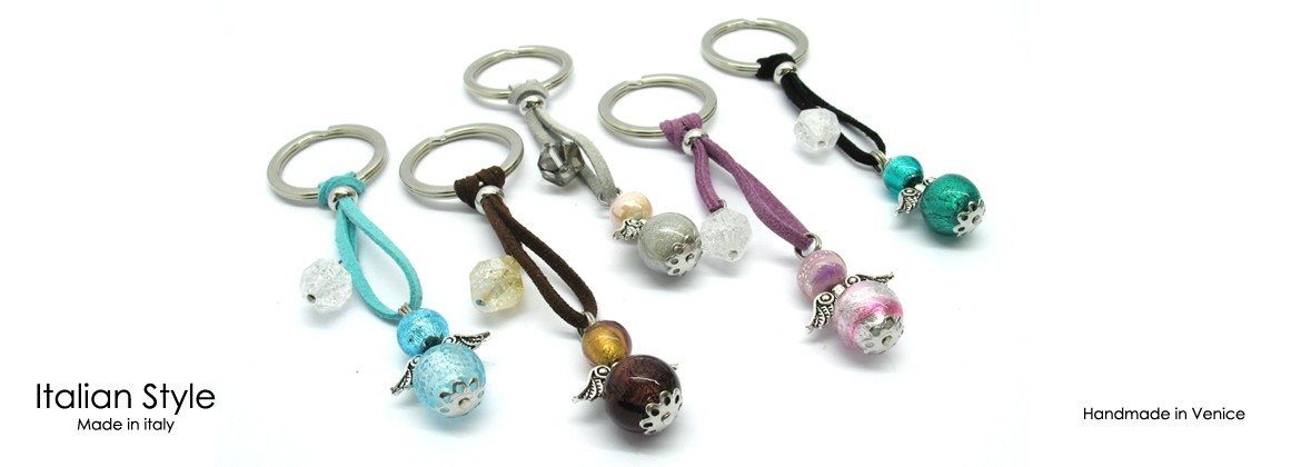 Murano Glass Keychain, made with glass Angel Beads, (14 mm in diameter) Mod. Portachiavi Angioletto, (11 cm) available in 10 different colours,
