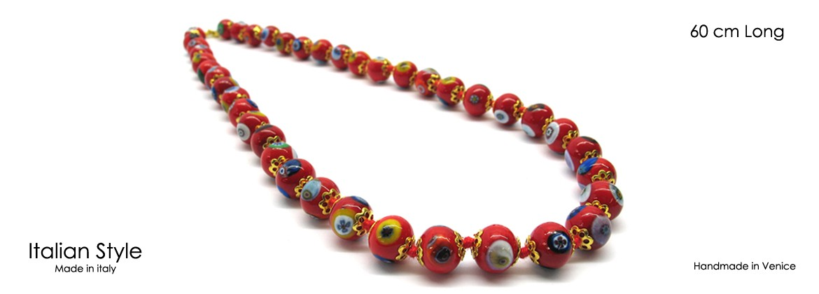 Murano Glass Necklace, Mod. Mosaico (60 cm) made with beads 8 mm in diameter, available in 5 colours,