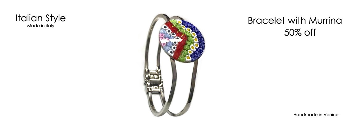 Murano Glass Bracelet, Mod. Roberta, with Murrina 26 mm, case in Chrome metal, bracelet (spring opening), beads available in 10 assorted Colour