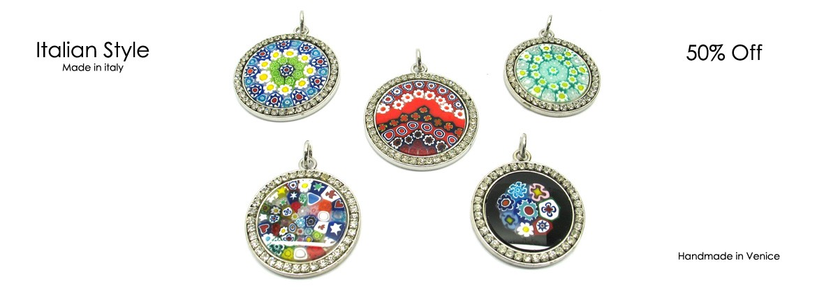 Metal pendant with Strass, Mod. MS-26 (26 mm in Diameter) available in 5 different colours, metal case, with Strass, entirely handmade by Murano master glass-makers with the the lampwork technique, in our Factory in Murano Venice - Italy.