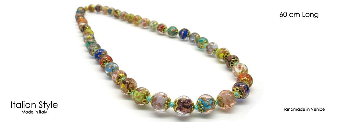 Murano Glass Necklace, Mod. Sommerso (60 cm) made with beads 8 mm in diameter, available in 5 colours, with insertions foil, in Silver 925 and Gold 24 kt, made entirely handmade by Murano master glass-maker