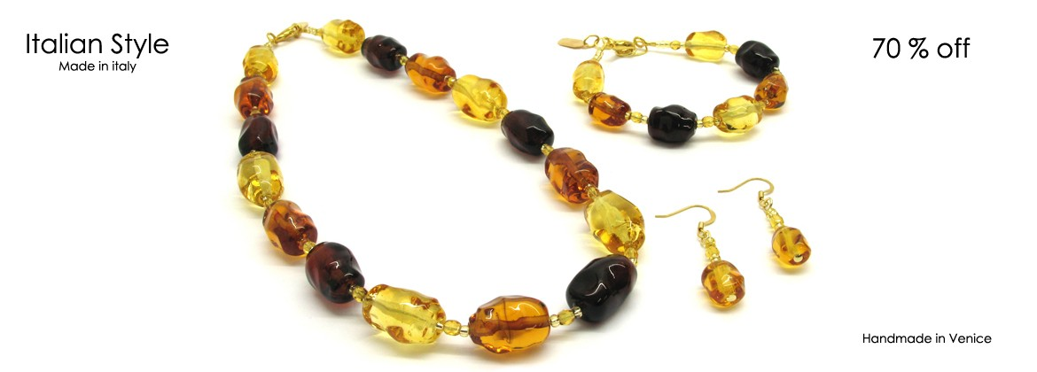 Murano Glass Set Mod. Abbazia (50 cm) made with assorted beads (20x12 mm) Bracelet (21 cm) and Earrings (12x8 mm) made entirely handmade by Murano