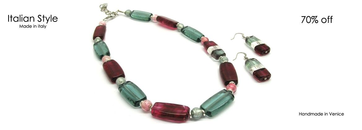Murano Glass Set Mod. Ancora (50 cm) made with assorted beads (26x12x7 mm) and Earrings (26x14 mm)