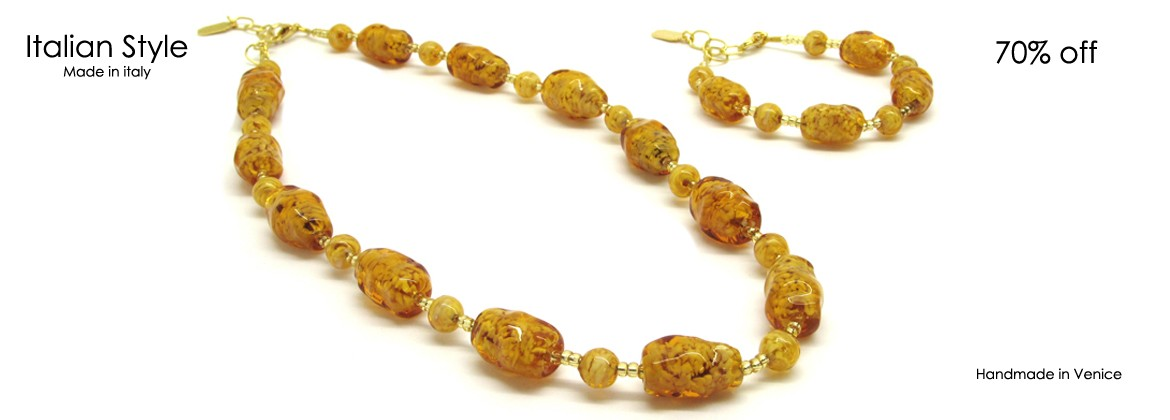 Murano Glass Set Altinia (43 cm) with Bracelet (21 cm) available in 3 colours, entirely handmade by Murano master glass-makers