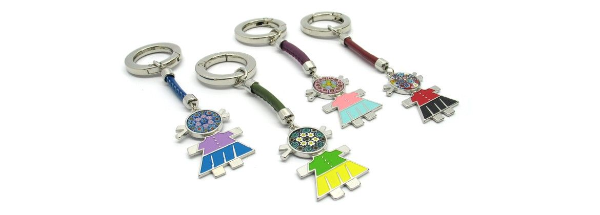 Murano Glass, Charms Bag or Keychain, (Baby) made with Murrina (Assorted Colors)