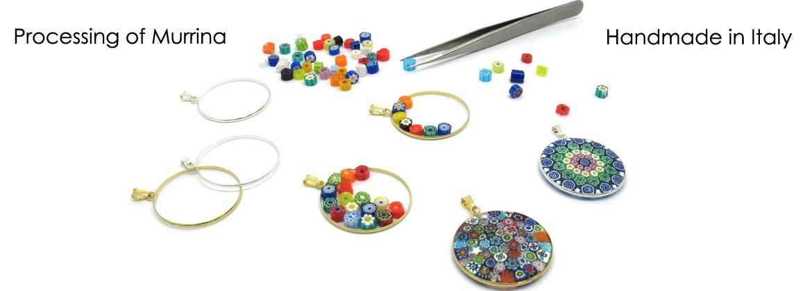 A murrina is a glass bead with a geometric design obtained by cross sectioning a glass rod