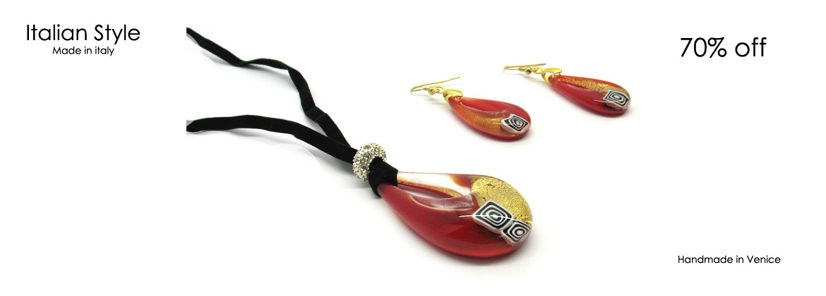 Murano Glass Set Mod. Veve Style(50 cm) made with Pendant (50x30 mm) and Earrings (35x20 mm) available in 4 Colours,