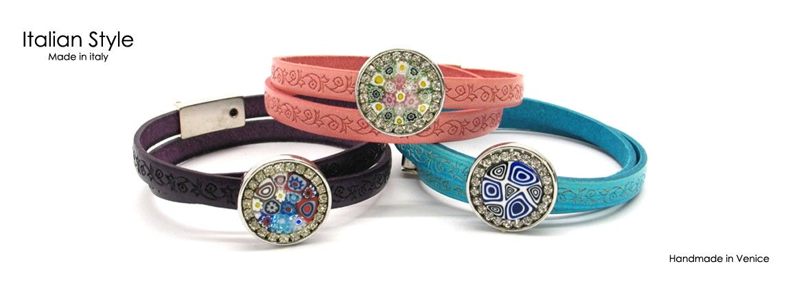 Murano Glass Bracelet, Mod. Mauri (40 cm) made with Murrina and Strass 20 mm in diameter, leather strap