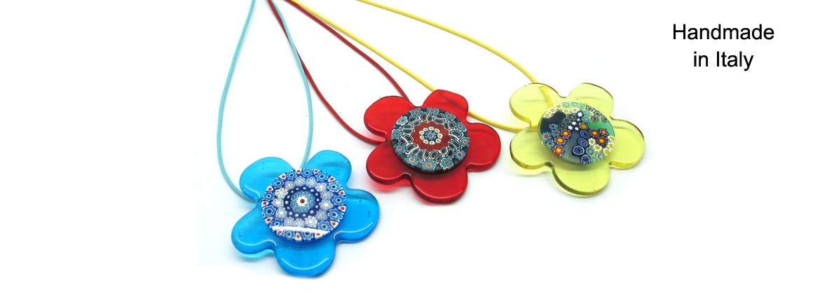 Murano Glass Necklace Mod. Daisy (Glass Diam, 55 mm) made with assorted Murrina (Diam. 30 mm) cotton cord (45 cm) available in 7 assorted Colours