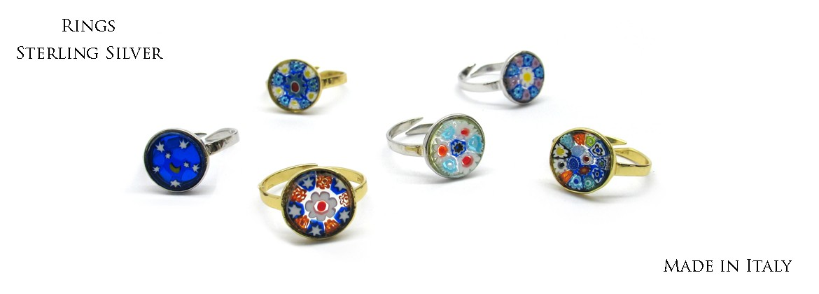 Murano Glass Rondò Rings in Sterling Silver